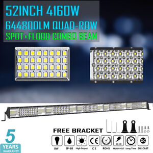 52 Inch 4160w Osram Quad Row Led Work Light Bar Spot Flood Offroad Truck 4x4 50