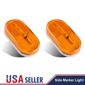 2x Amber Side Marker Camper Trailer Rv Boat Lights 6 Led Clearance Lamps 4 X 2