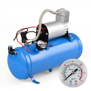 6 Liters Air Compressor Plus 4 trumpet 150 Db Chrome Truck Train Air Horn Kit