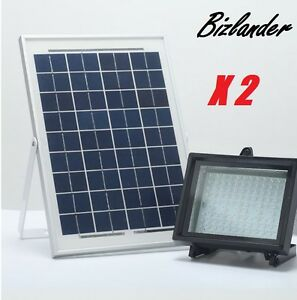 2 Pack Bizlander 108 Led Solar Powered Flood Light For Commercial Signage Light
