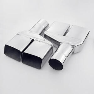 Pair Quad Square Outlet 2 5 In Exhaust Tips For 1970 1974 Dodge Challenger