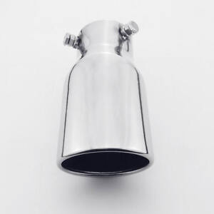 2 5 Bolt on Inlet Slant Oval Outlet Exhaust Tip Stainless Steel Polished Rolled