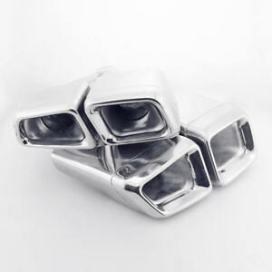 Pair Quad Square Out Mercedes Benz E63 Amg Style Exhaust Tips Stainless Steel