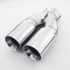 Straight Cut Dual Wall 3 Outlet 3 Inlet Stainless Steel Exhaust Tip Round