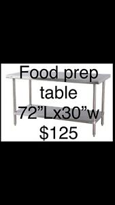30 x 72 stainless Steel Kitchen Work Food Prep Table Coffee Studio Commercial