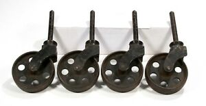 Antique Vintage Rare Industrial Set Of 4 Cast Iron 4 Fixed Caster Wheels
