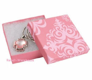 Jewelry Gift Boxes 100 Pink Damask Print Cotton Filled 3 X 3 X 1 33
