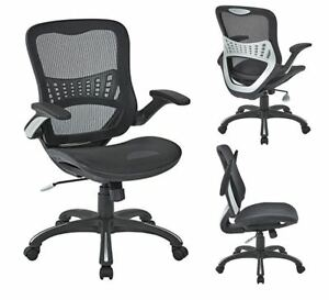 Mesh Back Seat Steelcase Leap Chair Black Fabric 2 to 1 Synchro Lumbar Support