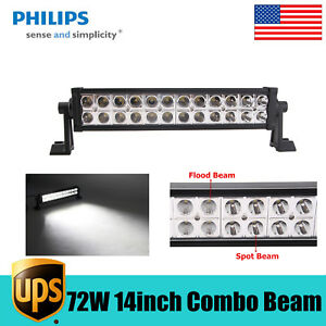14in 72w Led Light Bar Spot Flood Beam For Off Road Driving Jeep 4wd Car Truck