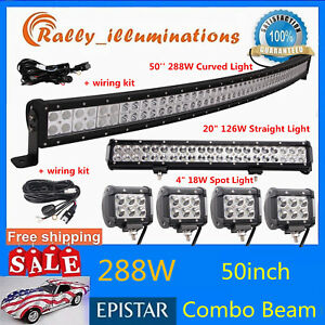 Curved 50inch 288w Led Light Bar Driving cree 20 126w Spot Flood 4x 4 18w wires