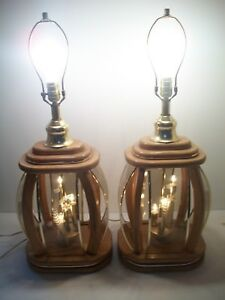 Pair Of Mid Century Modern Danish Teak W Etched Glass Panels Table Lamps