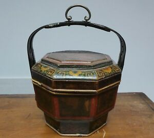 Late 19th Early 20th Century Chinese Painted Bamboo Wedding Lunch Box