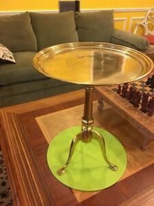 Vintage Solid Brass Pedestal Side Accent Table Plant Stand 15 D