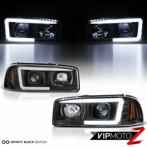 99 06 Gmc Sierra Yukon Black Led Neon Tube Light Bar Drl Projector Head Lamp L R