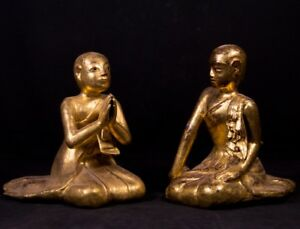 19th Century Pair Of Antique Monk Statues From Burma Antique Buddha Statues