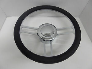14 Chrome Billet Aluminum Steering Wheel With Adaptor Smooth Horn Button