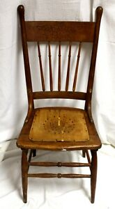 Antique Oak Pressed Back Hand Turned Chair