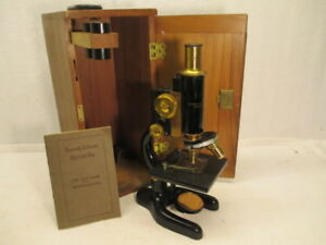 Vintage Bausch Lomb Monocular Compound Microscope W case Use Care Book