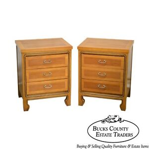 Mid Century Modern Pair Of Walnut Chests Nightstands By United Furniture Corp