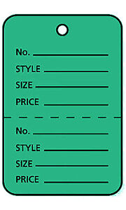 2000 Perforated Tags Price Sale Large 1 W X 2 h Two Part Green Coupon Tag