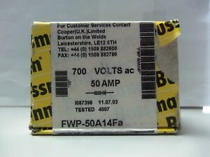 New Lot Bussmann Fwp 50a14fa 50 Amp Semiconductor Fuses 700v Nib