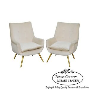 Mid Century Modern Pair Of Italian Lounge Chairs