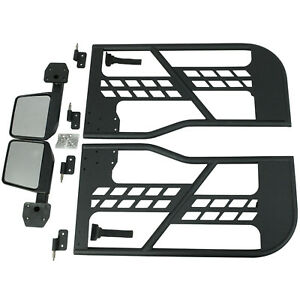 Safari 2 Tube Doors With Side View Mirrors Armor Sets 07 18 Jeep Wrangler Jk 2dr