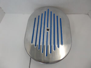 12 X 2 Polished Ball Milled Air Cleaner W Blue Stripes Chevy Ford Chrysler