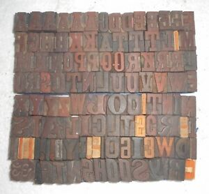 105 Piece Vintage Letterpress Wood Wooden Type Printing Blocks 24 M m Used