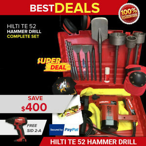 Hilti Te 52 Hammer Drill Preowned Free Sid 2 a Bits Extras Quick Ship