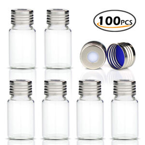 100x Set 10ml Sample Vials With Screw Top Clear Glass Bottles Caps Lab Hplc Gc