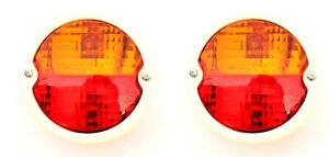 Tail Stop Flasher With Licence Plate Window Round Light Classic Vintage