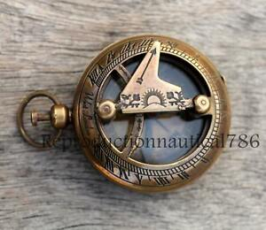 Nautical Push Button Antique Brass Compass With Chain Handmade Working Compass