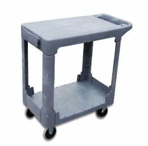 I lift 2 shelf Flat top Service Cart 550 Lb Capacity 44 X 26 X 32 Gray