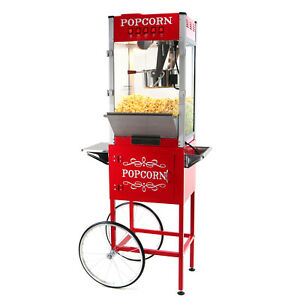 Paramount 16oz Commercial Popcorn Maker Machine Cart 16 Oz Popper red