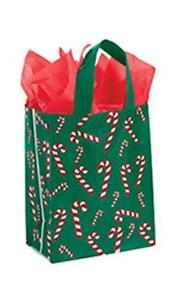 100 Plastic Frosty Bags Holiday Christmas 8 X 5 X 10 candy Cane Canes Frosted