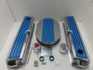 Sbf Ford 289 302 351w Blue Finn Valve Covers Half Finned Air Cleaner Pvc Cap Kit