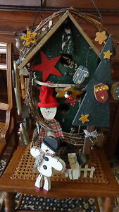 Country Style Large Super Decorated Wooden Snowmen Bird House 22 Tall