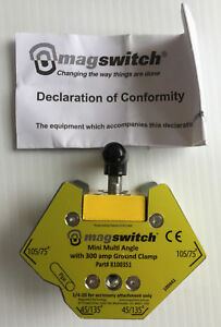 New Magswitch 8100351 Mini Multi angle Welding Magnet W 300 Amp Ground
