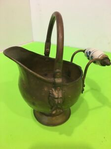 Vintage Brass Scuttle Coal Fire Bucket Lions Head Porcelain Handle 7