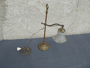 Lamp Brass Antique Adjustable Lampshade European Peacock Glass Press