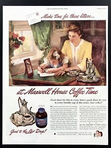 1945 Vintage Print Ad 40's MAXWELL COFFEE Art Girl Writing Letter Mom's Help