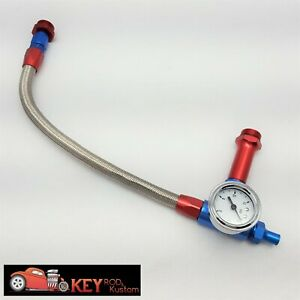 Braided Fuel Log Line Gauge Billet Holley Quick Fuel Profrom 4150 4160 Flexible