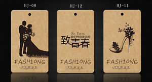 300pcs Single Custom Print Hang Tags Fashion Clothes Label Free Design 300gsm