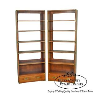 Campaign Style Vintage Pair Of Tall Walnut Open Bookcases