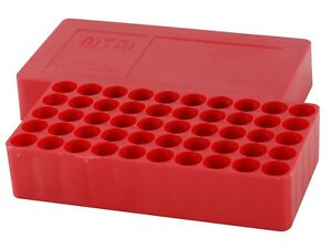 MTM Slip-Top Ammo Box 10mm Auto Round Hole Plastic Red J-50-45-30