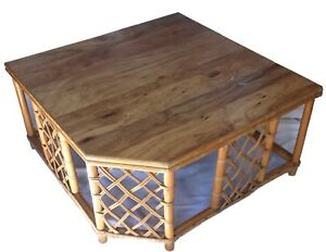 Vintage Rattan Wood Asymmetrical Coffee Table