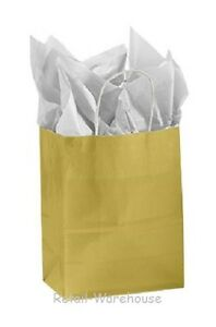 Paper Shopping Bags 100 Glossy Gold Gift Retail Merchandise 8 X 4 X 10