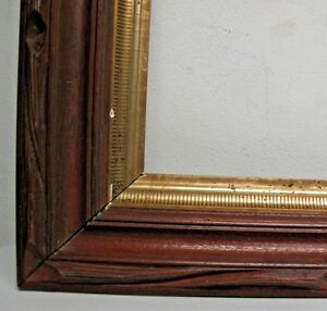 Hudson River Eastlake Victorian Carved Walnut Frame 2 Tier Gilt Fits 16 X 22
