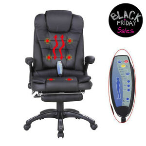 Black Heated Executive Massage Chair Vibrating Ergonomic Office Chair W footrest